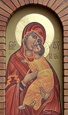 Theotokos Icon on church entrance